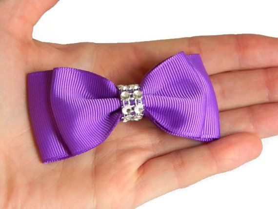 Purple Hair Bow 3 5 Inch Purple Double Stacked Grosgrain