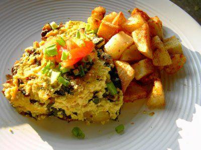 Vegan Swiss Chard Tofu Frittata with Mushroom Crust