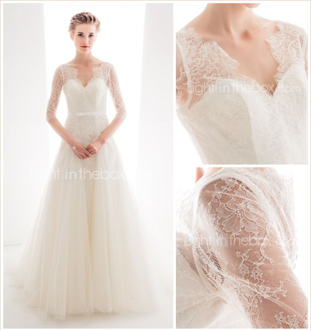 Princess Anne Wedding Dress Pictures : Line princess queen anne court train lace and tulle wedding dress