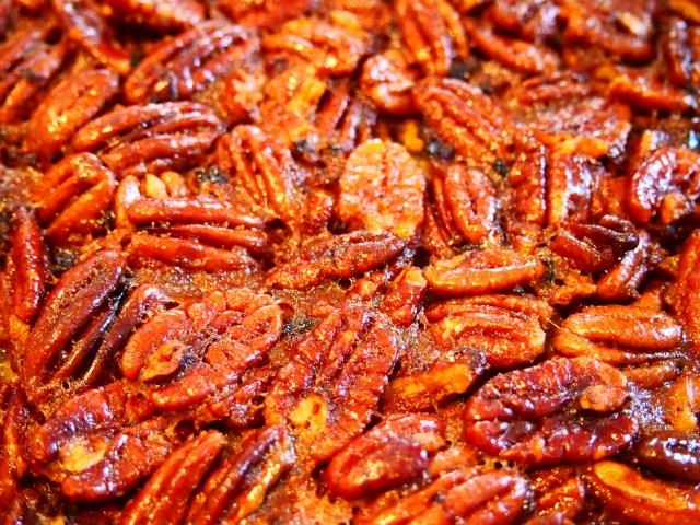 ... crunchy caramelized pecans on top of Maple Bourbon Pecan Pie