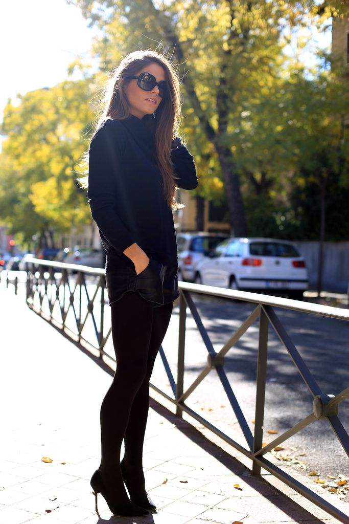 City Street Style Fashion | Chic Girl in Black with dark shades | #thejewelryhut