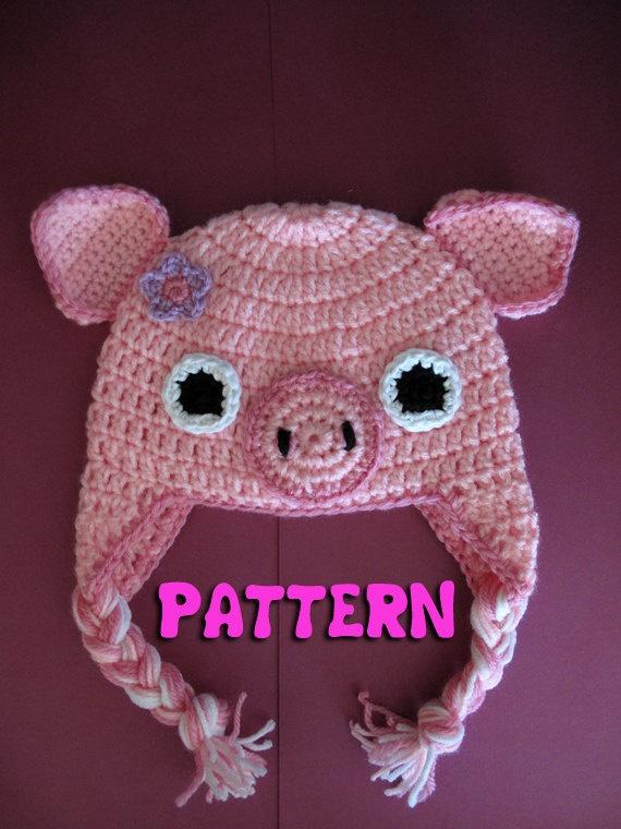 Crochet Pattern Pig Hat : PATTERN: Crochet Earflap Pig Hat