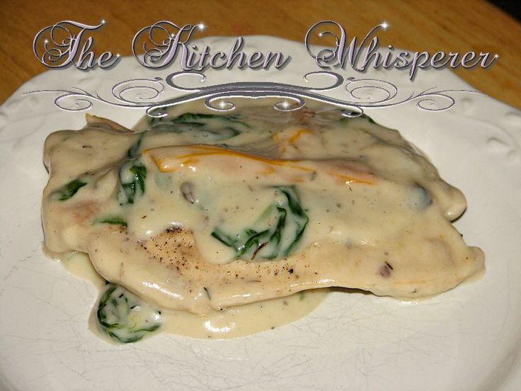 ... Whisperer Spinach Pepper Chicken in a Wild Mushroom Béchamel Sauce