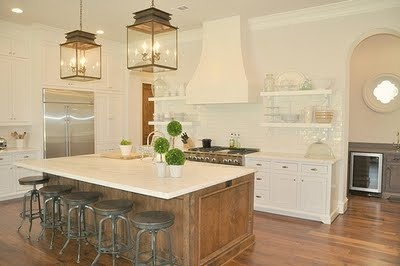 Rustic modern kitchen, really digging the wood island, white cabinets