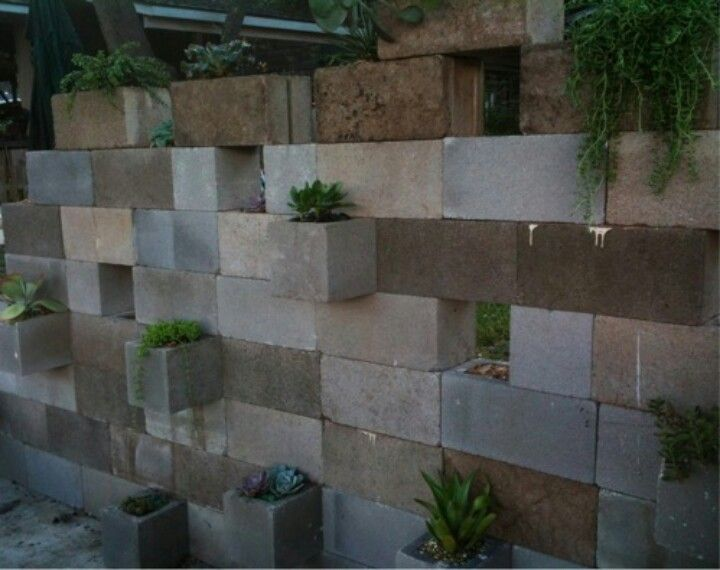 Painted Cinder Block Retaining Wall The