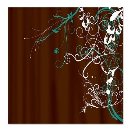 Brown And Teal Swirls Shower Curtain