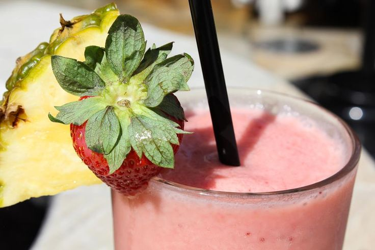 Fruit #Smoothie - strawberries, orange and pineapple juices, coconut ...