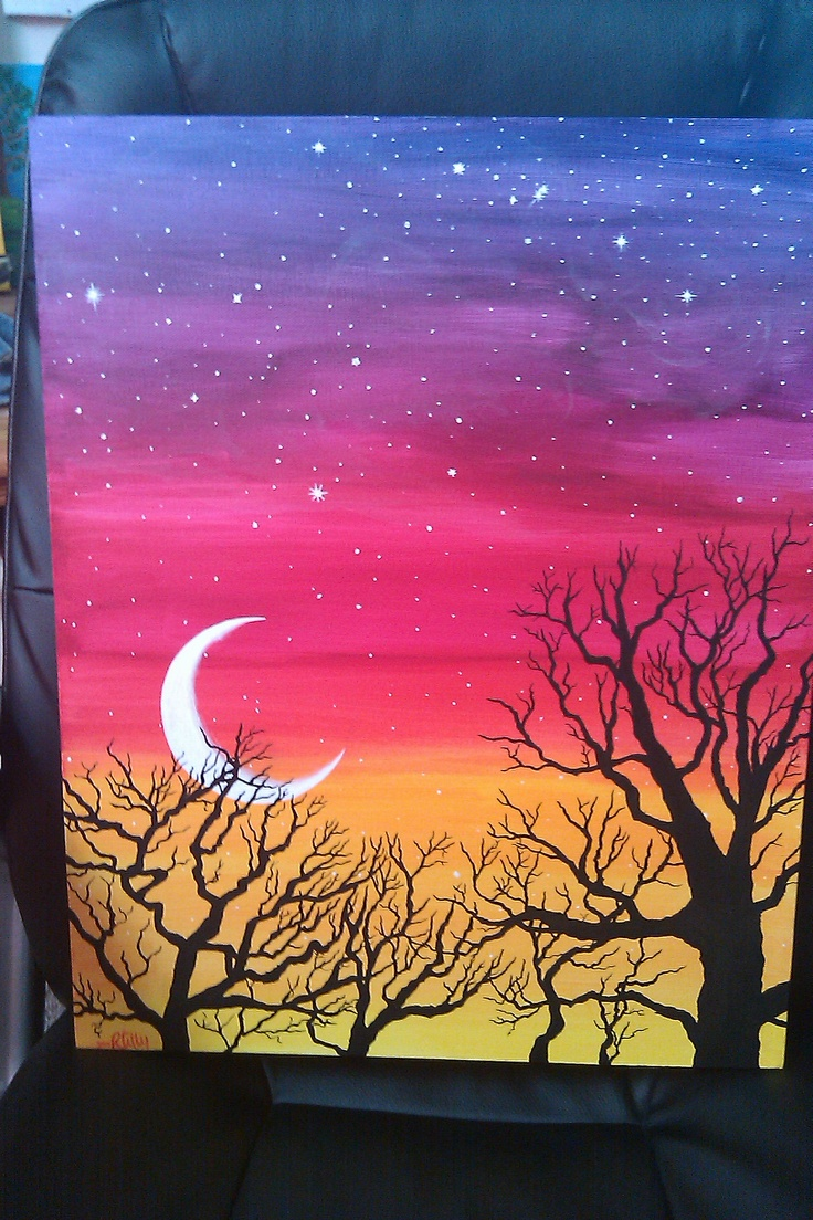 Untitled sky tree motif acrylic painting ideas for Back painting ideas easy
