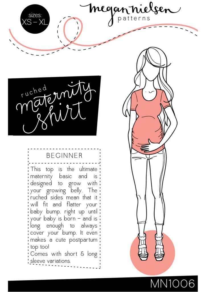 Megan nielsen ruched maternity tshirt sewing pattern http