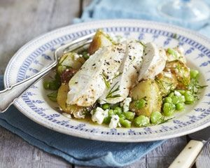 chicken salad with new potatoes, broad beans and feta features spring ...
