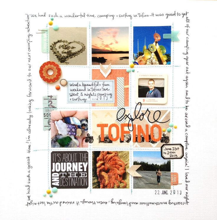 Explore Tofino - Scrapbook.com grid, aqua and coral details.