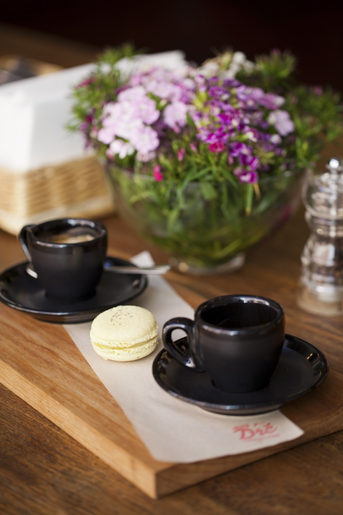 coffee & macaron tasting board consisting of: a short black, macaron ...
