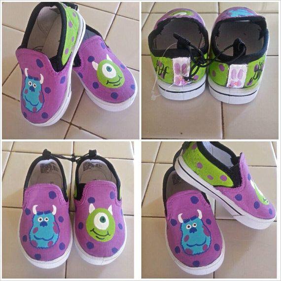 Custom Painted Shoes Monsters Inc slip Ons by ModernFymyKicks