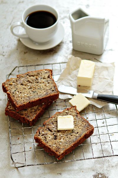 Rum-Coconut Banana Bread - all of those words make me happy.