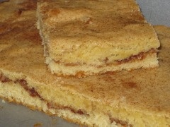 Snickerdoodle Bars -- cinnamon and vanilla goodness in an easy to make bar. I could eat the batter right off the spoon!!