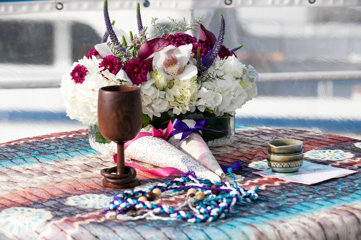 Wedding altar, with Irish wedding goblet, DIY handfasting cords, altar arrangement, and petal cones