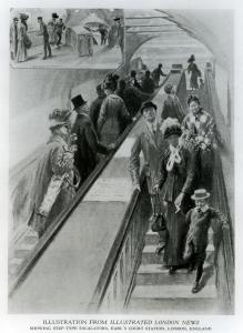 On 4 October 1911 the first escalator was installed on the Underground, in Earl's Court Underground station, 1911 Step off with the left foot first : In October 1911, the Illustrated London News showed its readers the first escalators on the Underground at Earl's Court station. The magazine reported that passengers for central London left their train, rode up the stairs and down again, then caught the next train.