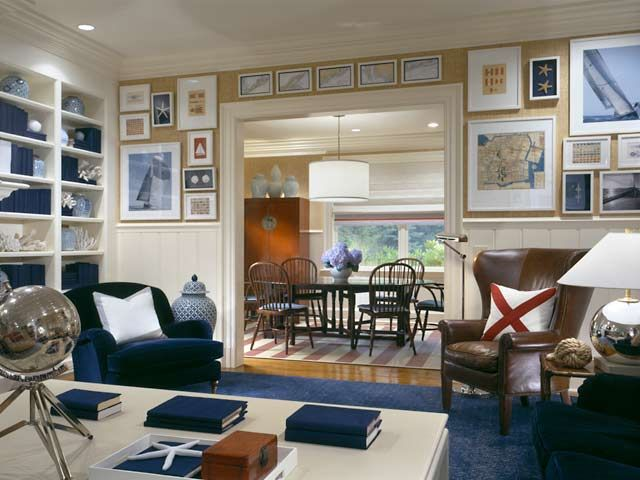 Gold navy and red nautical living room pinterest for Ralph lauren interior designs