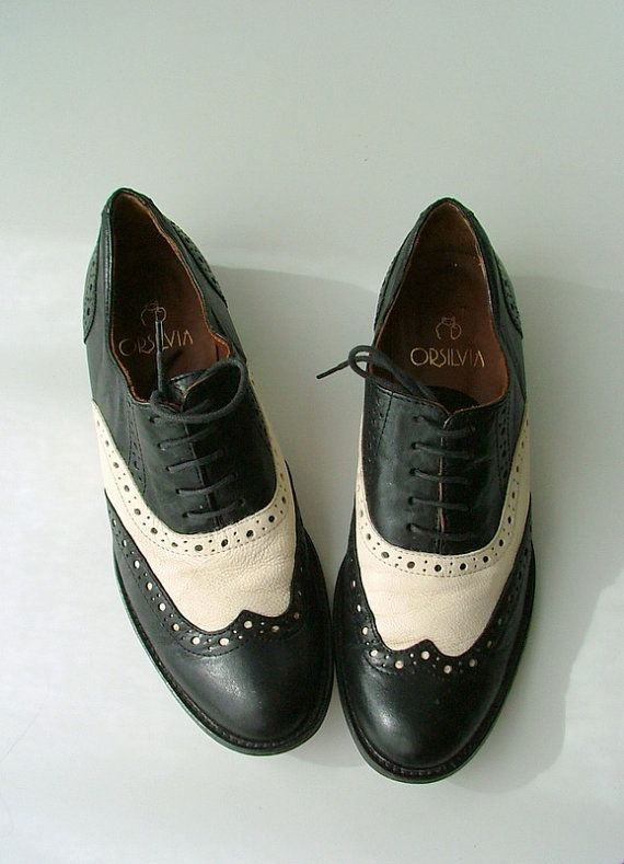 vintage womens black white leather oxford shoes 39 italy