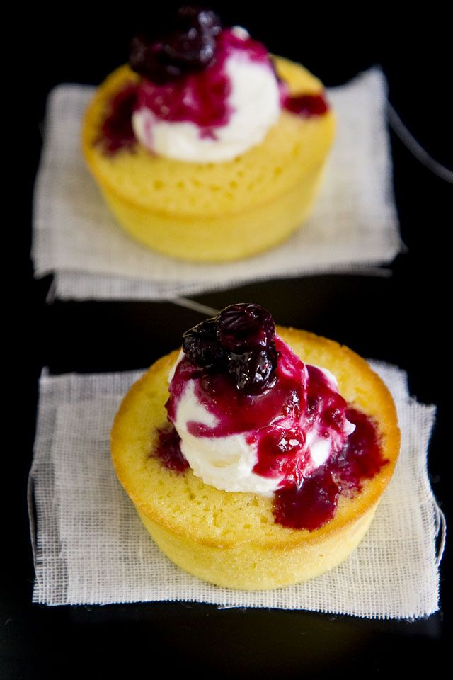 Meyer Lemon Buttermilk Mini Cake with Blueberry Compote and Mascarpone ...