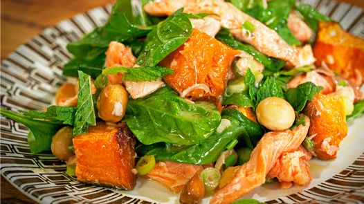 Smoked Trout, Kumera and Macadamia Salad GF- yummy. Trout was a nice ...