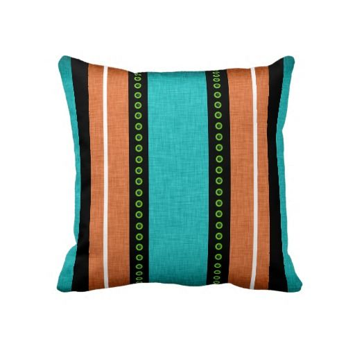 Stripes black aqua orange funky throw pillow