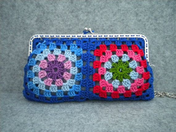 Crochet Purse Strap : Crochet Purse - Blue crochet granny square bag with metalic strap ...