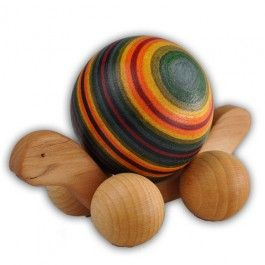 Rainbow Rolling Turtle. Watch the colors on the wooden ball swirl as he gets pushed along! Made in Germany.