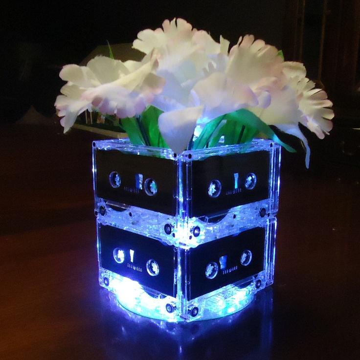 20 music themed wedding centerpieces mixtape cassette tape for Lighted centerpieces