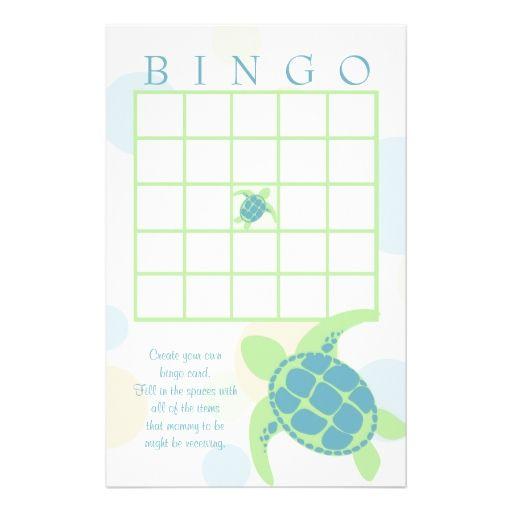 sea turtle baby shower bingo customized stationery