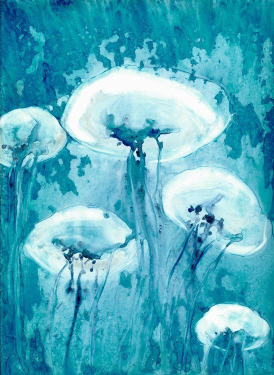 Jellyfish art watercolor painting teal blue for Jelly fish art