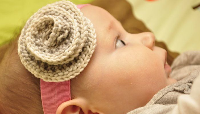 Knitting Pattern Baby Headband Flower : Headband Flower Knitting for Children Pinterest