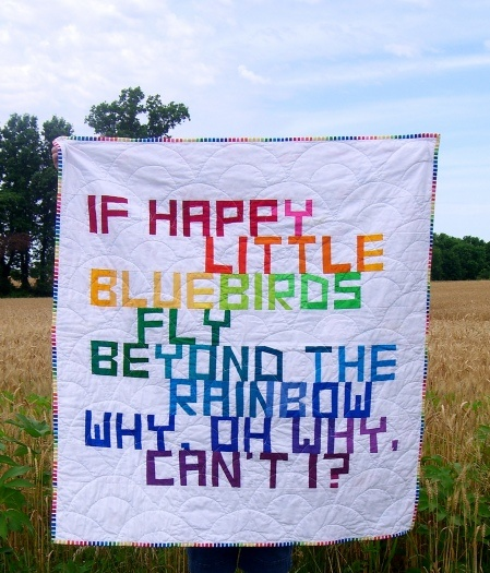Fab rainbow lettered quilt