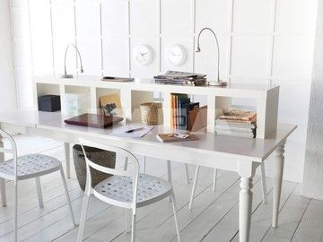 IKEA's LINMON/NIPEN table with add-ons and desk lamps.