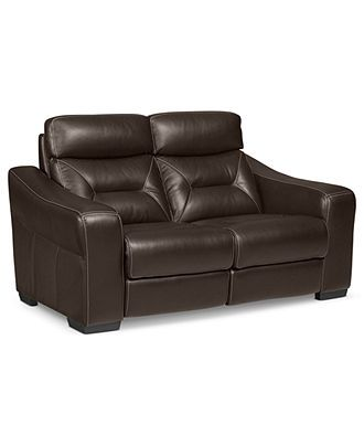 Judson Leather Dual Power Reclining Loveseat