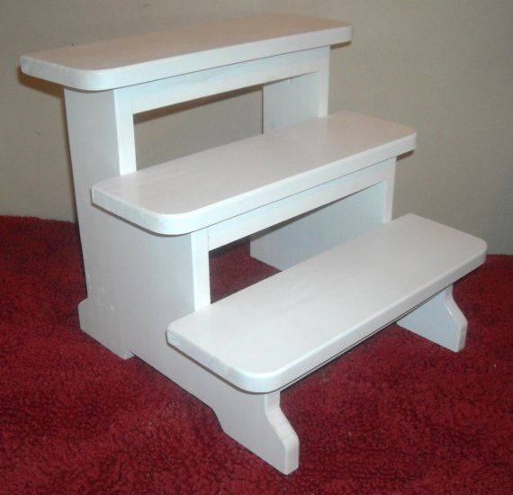 Kids 3 step stool white for Bathroom step stool for toddlers
