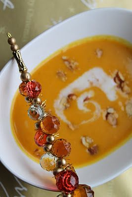 curry coconut soup with roasted carrots and butternut squash