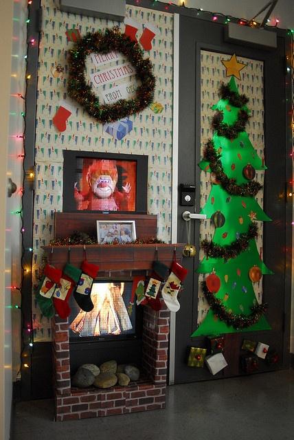 Decorating Ideas > Holiday Door Decorating  Fireplace  Doors!  Pinterest ~ 212114_Door Decorating Ideas Fireplace