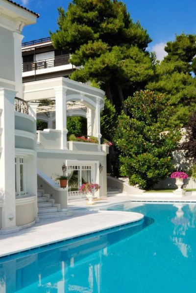 Two story mansion with swimming pool beach house pinterest for 2 story house with pool