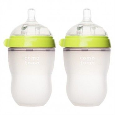 Featuring a soft, squeezable, skin-like body, Comotomo Bottles offer an easy transition from breast to bottle. They feature a breast-shaped, medium-flow, silicone nipple with vents to avoid colic while still preventing leaks. www.rightstart.com. $23.99