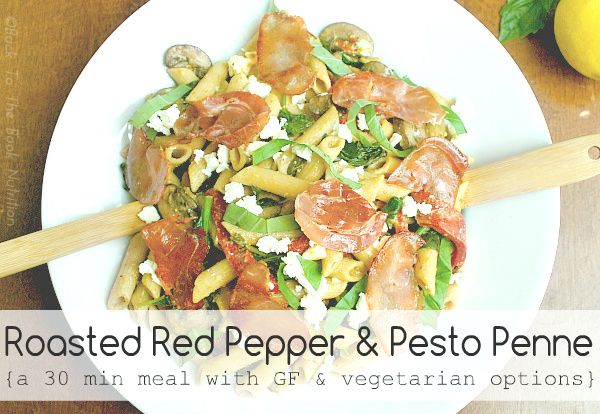 Roasted Red Pepper and Pesto Penne | www.backtothebooknutrition.com ...