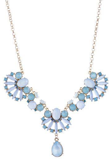 large leather bag Blue amp Gold Floral Fan Teardrop Necklace  DIY Jewelry