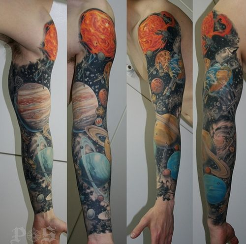 Astronomy sleeve by Geoff at Port Side Tattoo in Vancouver - Imgur