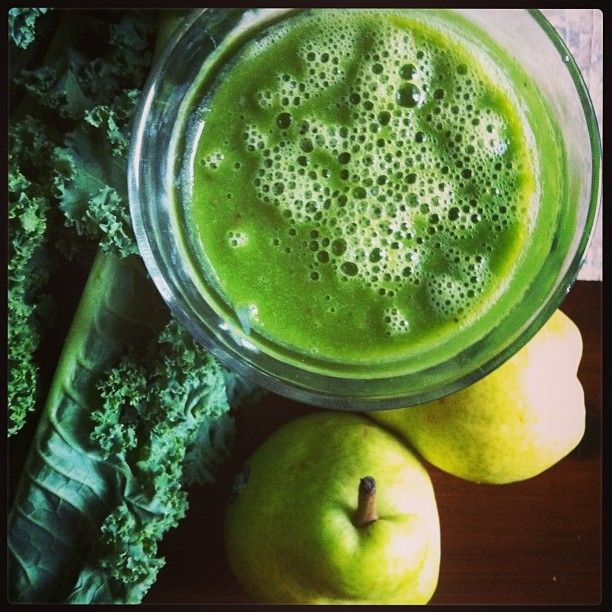 Smoothie: kale, pear, apple, banana, Baby Brain Organics, lime, ginger ...