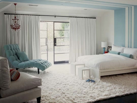 Glamorous blue and white bedroom