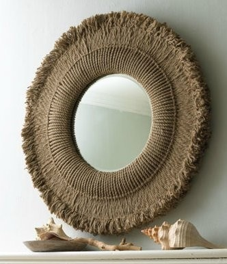 Rustic extra large round natural hemp rope wall mirror for Extra large round mirror