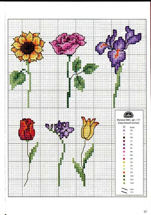 Цветы схема вышивки крестом простая схема 91