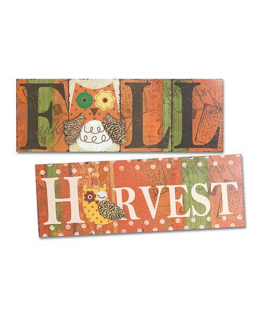 ... what I found on #zulily! 'Fall' & 'Harvest' Wall Sign...