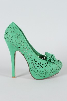 mint green cut out heels