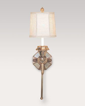 Mirrored Sconce with Linen Shade at Horchow.